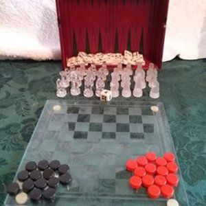 Stylish 8 x 8 inch glass top 4 in 1 game set